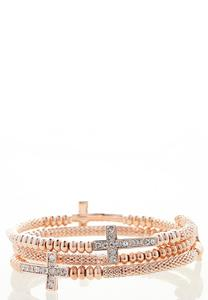 Rose Gold Beaded Cross Bracelet