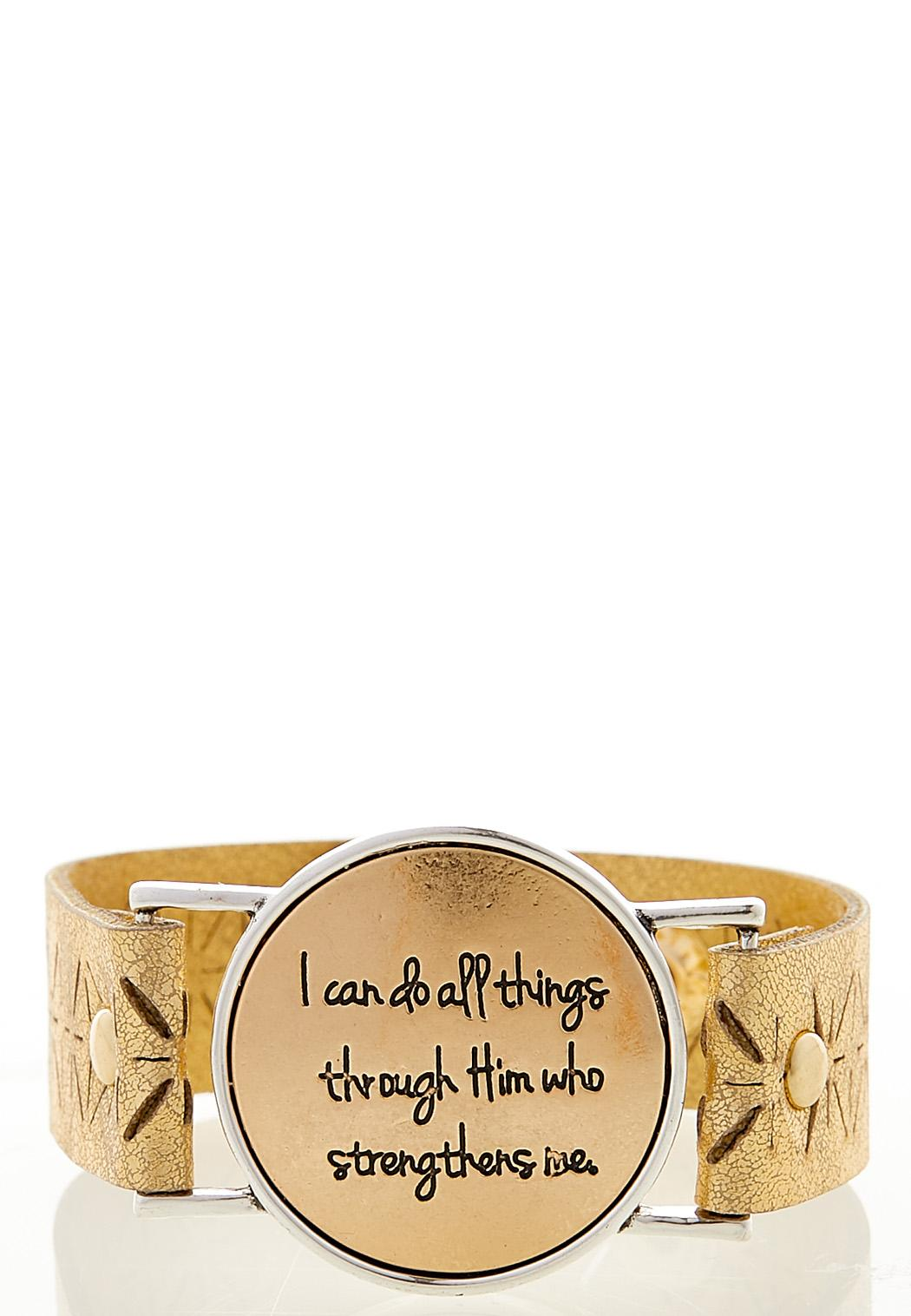Inspirational Faux Leather Bracelet