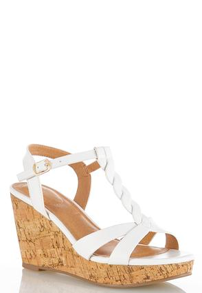 Braided T- Strap Cork Wedges