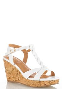 Braided T-Strap Cork Wedges