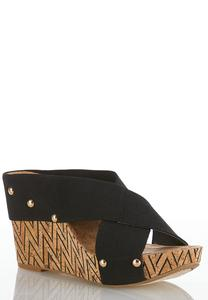 Cross Band Chevron Cork Wedges