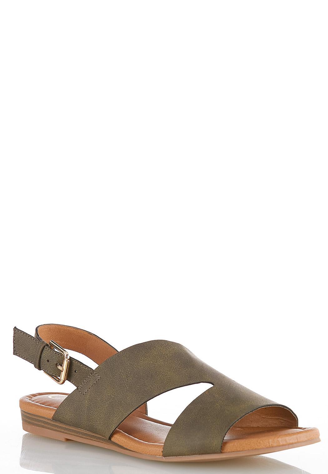 Wide Width Asymmetric Slingback Sandals