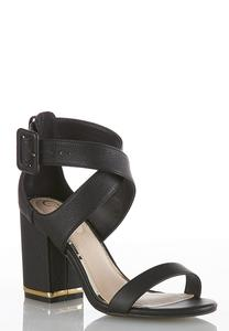 Wide Width Chunky Metallic Heeled Sandals