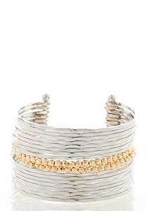 Multi Bar Hammered Cuff Bracelet