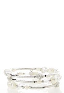 Pearl Rondelle Coil Bracelet