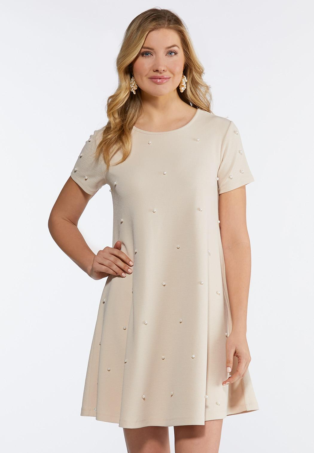 Plus Size Scattered Pearl Swing Dress A-line & Swing Cato Fashions