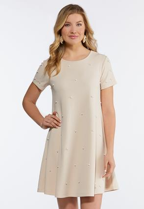Plus Size Scattered Pearl Swing Dress