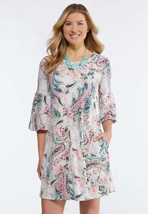 Plus Size Pink Paisley Swing Dress