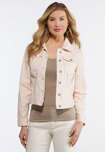 Plus Size Colored Denim Jacket