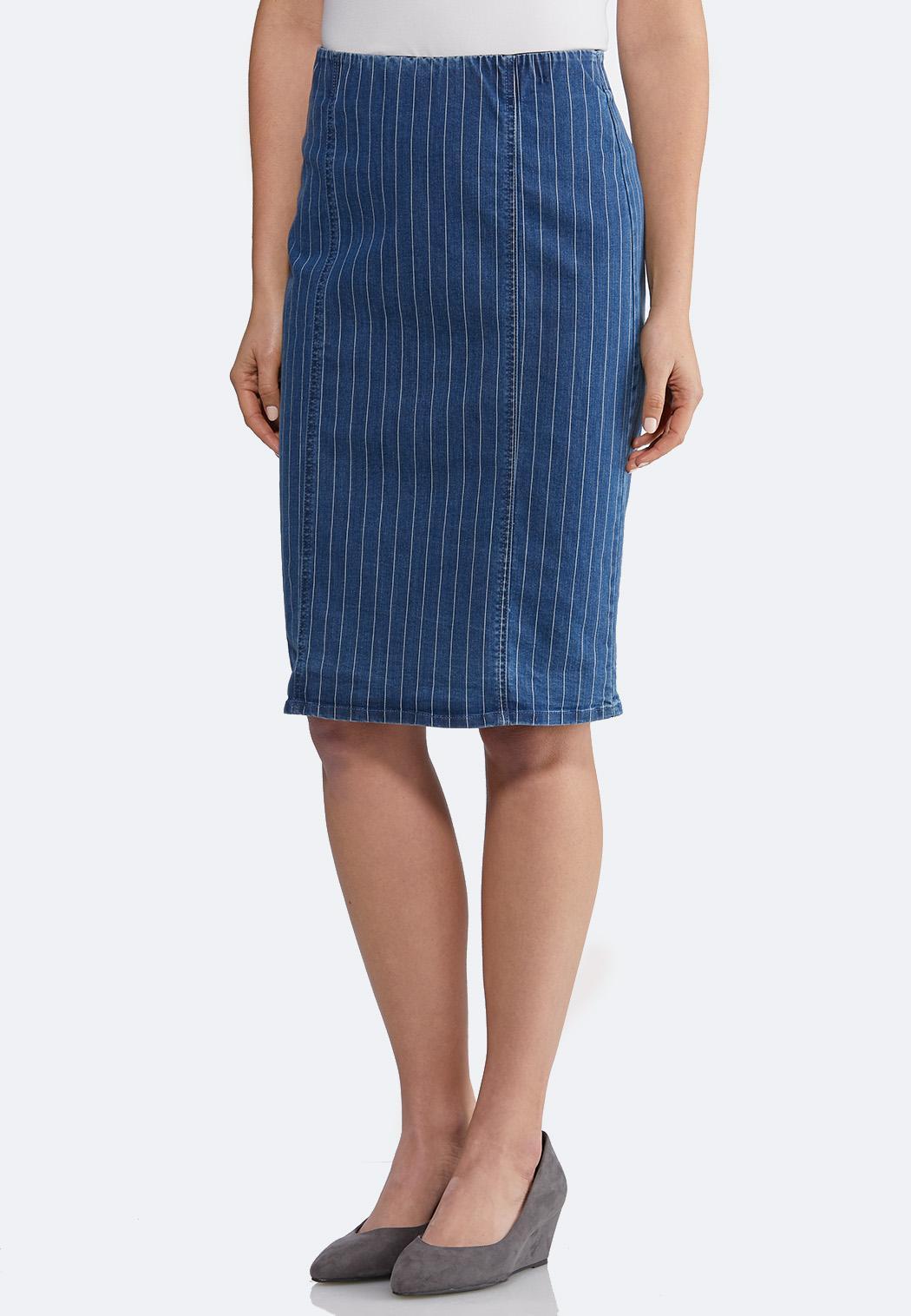 Striped Denim Pencil Skirt