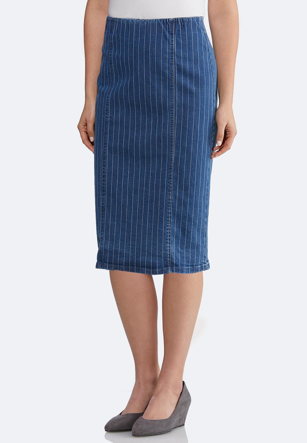 2c328f8240 Plus Size Striped Denim Pencil Skirt Skirts Cato Fashions