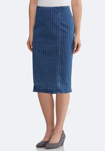 Plus Size Striped Denim Pencil Skirt