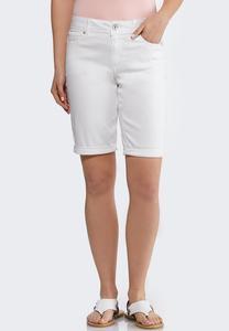 White Denim Bermuda Shorts