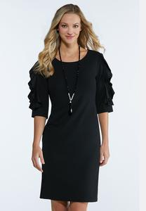 Ruffled Lace Sleeve Shift Dress