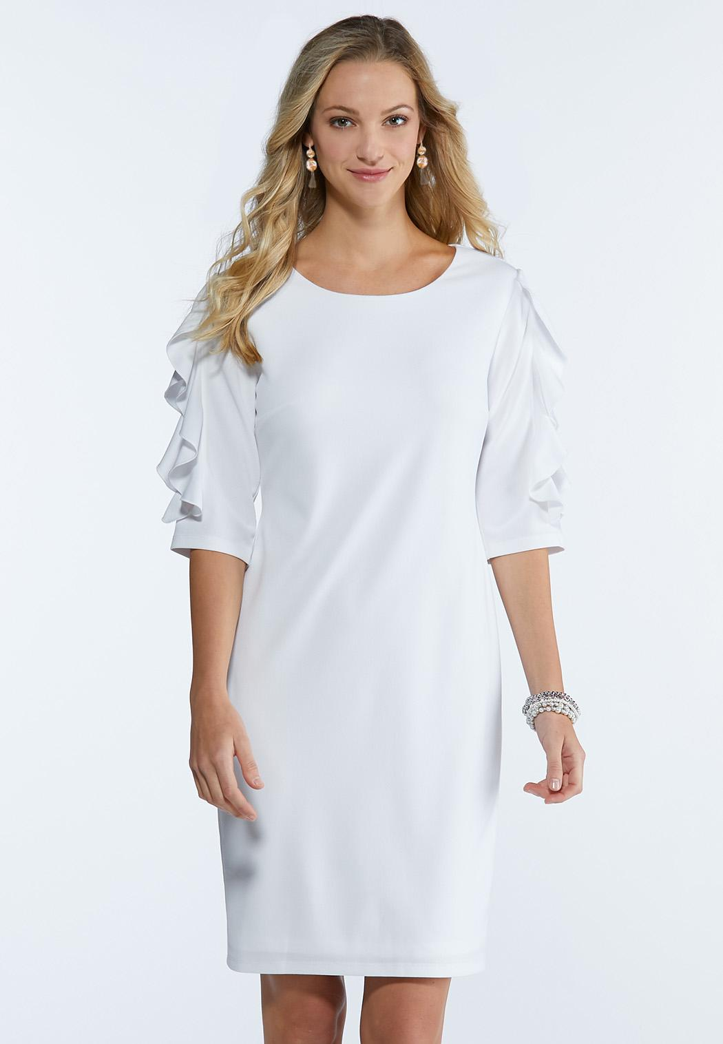 Plus Size Ruffled Lace Sleeve Shift Dress Midi Cato Fashions
