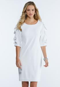 Plus Size Ruffled Lace Sleeve Shift Dress