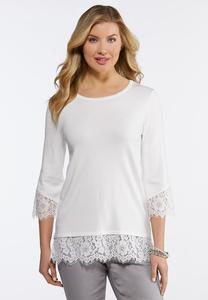 Plus Size Lace Trim Tunic Sweater