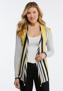 Plus Size Gold Stripe Cardigan Sweater