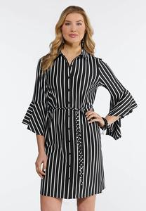Plus Size Stripe Flounced Shirt Dress