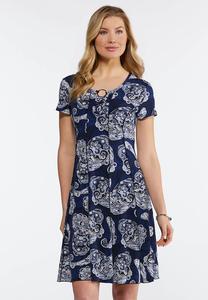 Plus Size Puff Paisley Corset Dress