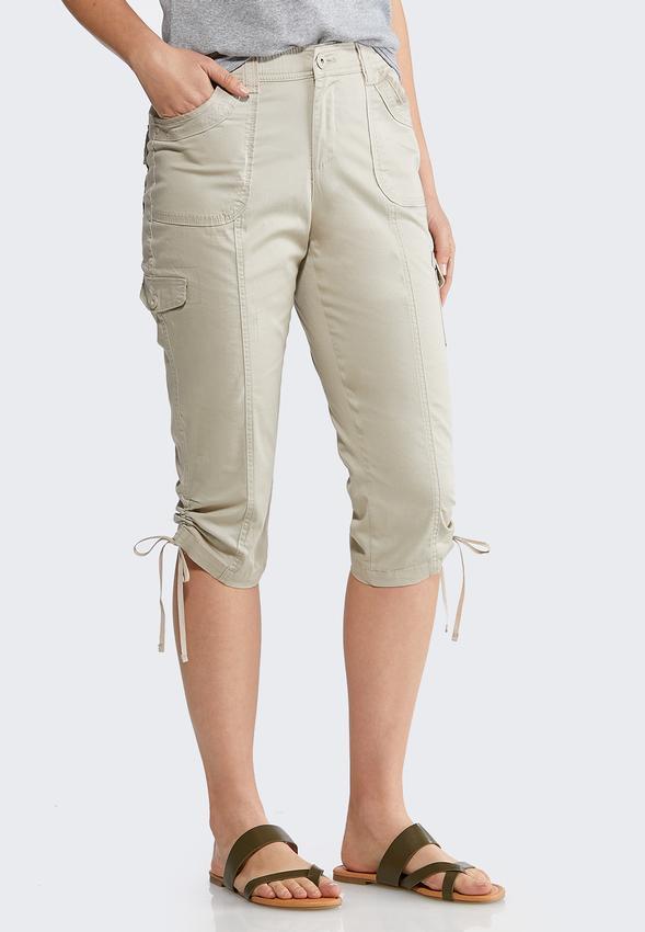 Cropped Tie Hem Cargo Pants