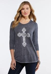 Plus Size Embellished Blessed Top