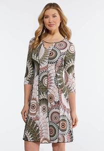 Plus Size Seamed Mod Print Dress