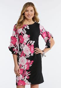 Plus Size Ruffled Floral Shift Dress