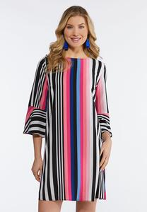 Plus Size Striped Crepe Swing Dress