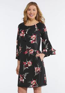 Plus Size Floral Puff Print Peasant Dress