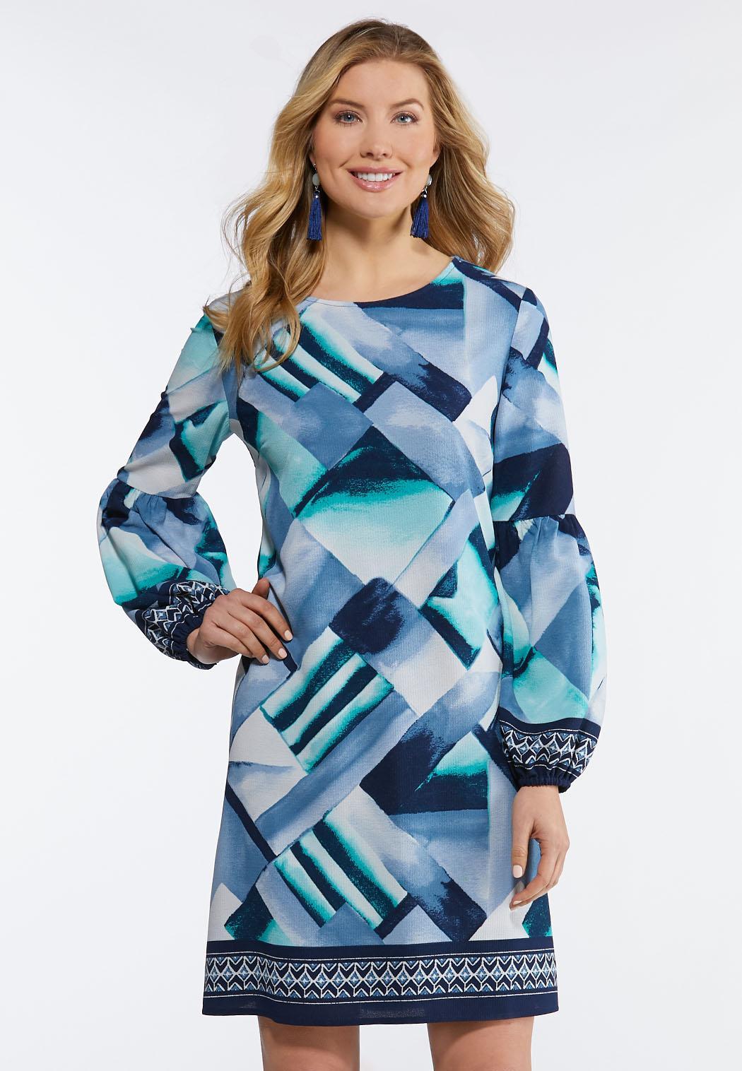 Plus Size Geo Lantern Sleeve Dress A-line   Swing Cato Fashions 316b03b2b