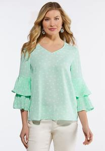 Dotted Pleated Sleeve Top