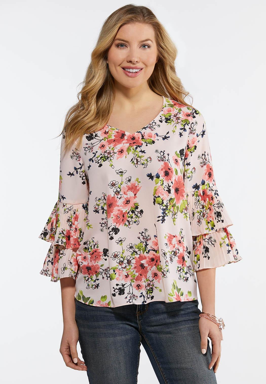 d10d3875776 Plus Size Floral Pleated Sleeve Top Shirts   Blouses Cato Fashions