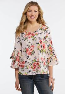 Plus Size Floral Pleated Sleeve Top