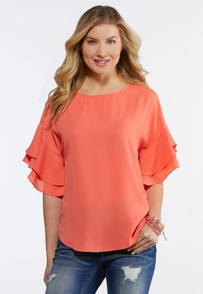Plus Size Citrus Ruffled Sleeve Top