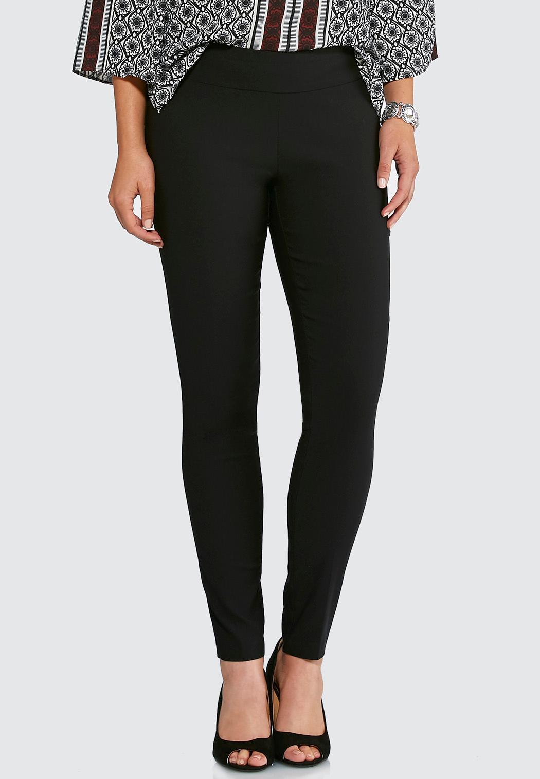 Petite Pull-On Solid Slim Pants