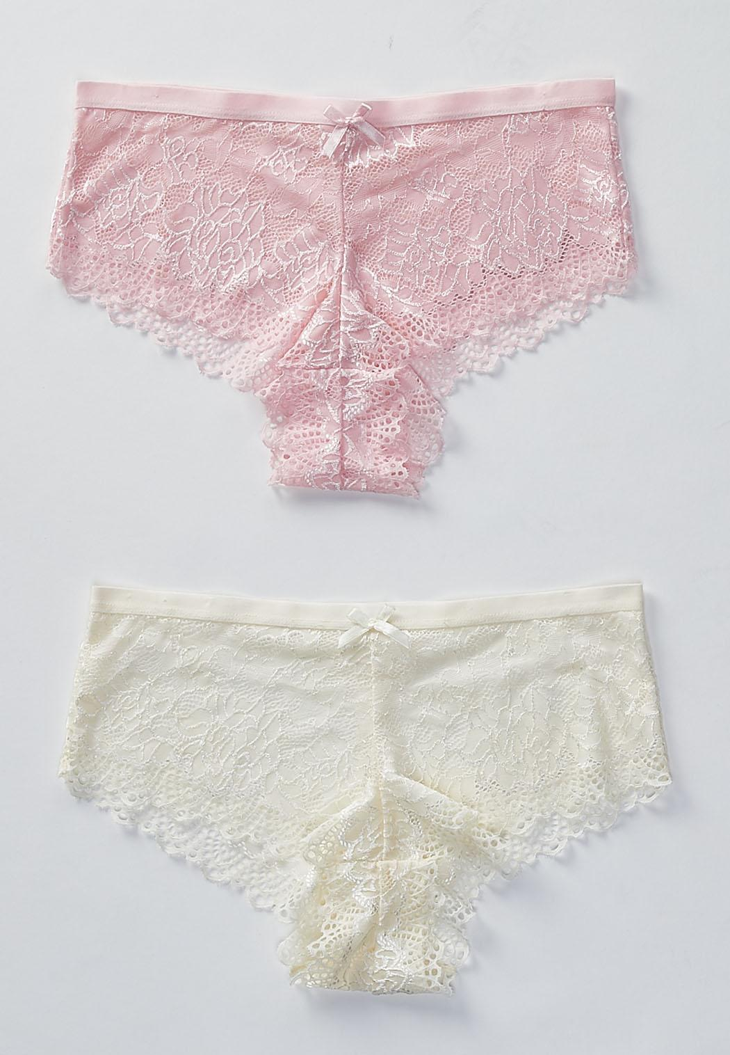 76152352e2 Plus Size Pink Lace And Ivory Bra Set Panties Cato Fashions