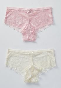 Plus Size Pink Lace And Ivory Bra Set