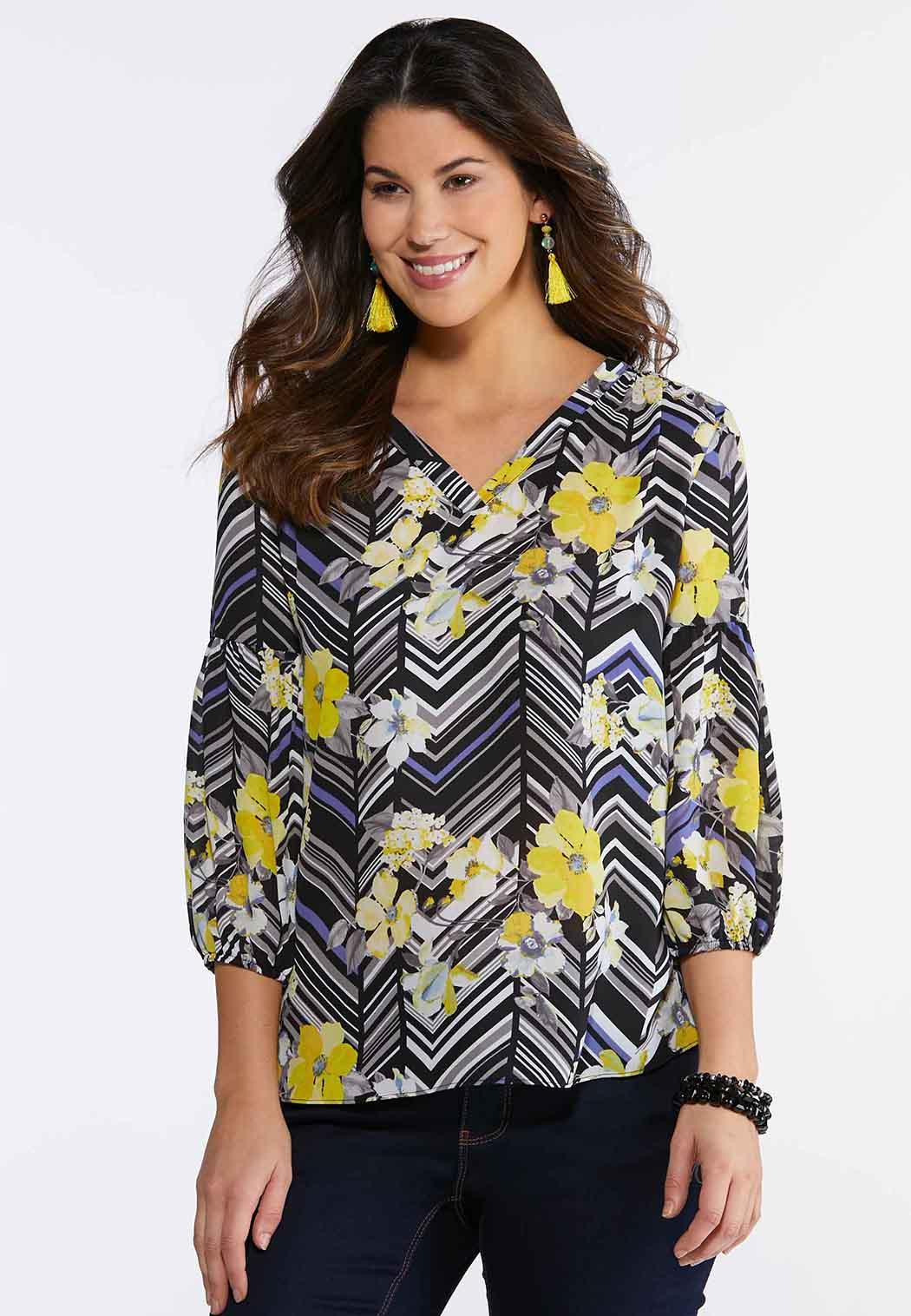 Floral Chevron Pullover Top