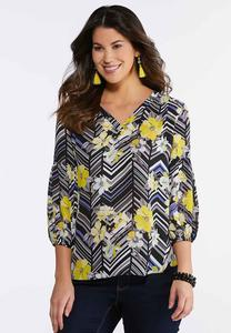 Floral Chevron Pullover Top