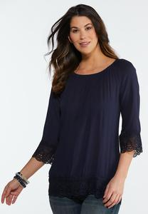 Solid Lace Trim Poet Top