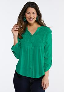 Smocked Gauze Pullover Top