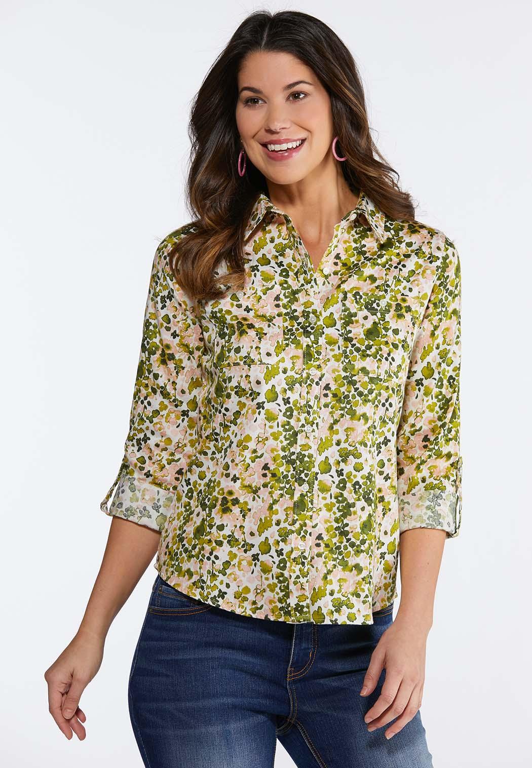 Plus Size Primrose Printed Top Shirts Blouses Cato Fashions