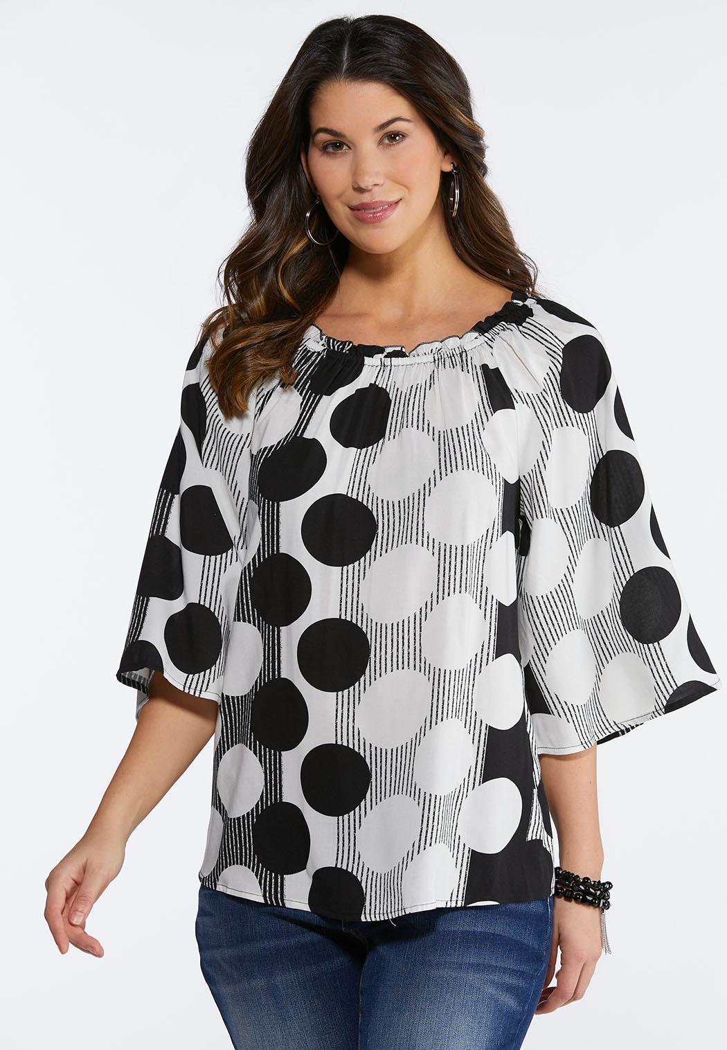 91e5c8b3f9c Plus Size Convertible Polka Dot Poet Top Shirts   Blouses Cato Fashions
