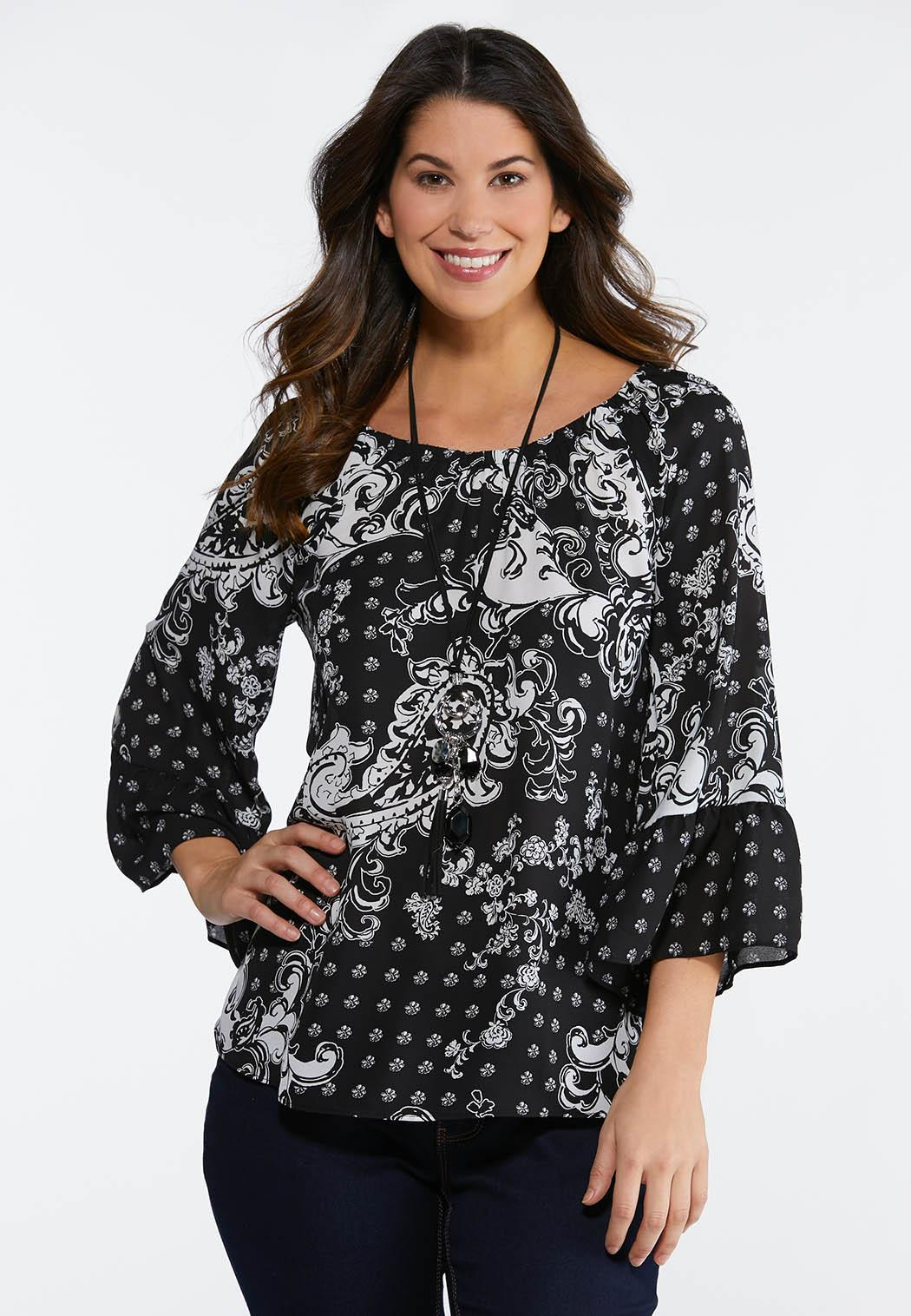 Blooms And Paisley Poet Top