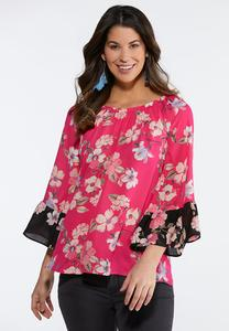 Plus Size Pink Floral Poet Top