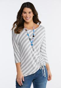 Striped Ruched Tie Top