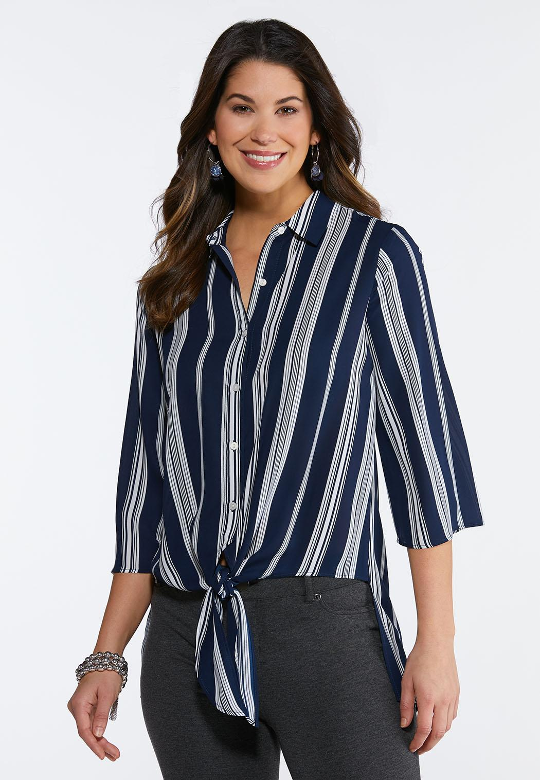 11f44a6dd Stripe Tie Front Top alternate view Stripe Tie Front Top
