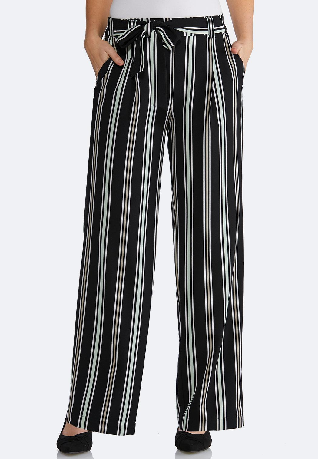 31409570d5 Striped Tie Front Palazzo Pants Wide Leg Cato Fashions