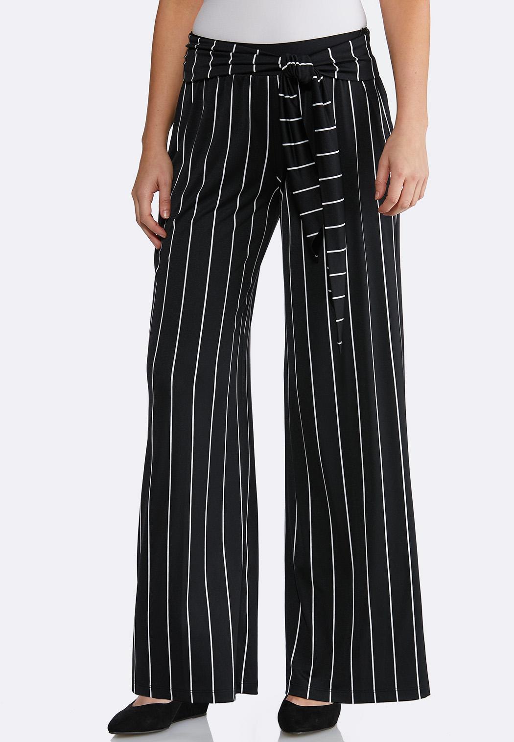 9e545cd5eb9 Petite Stripe Belted Palazzo Pants Petite Pants Cato Fashions